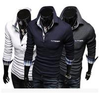 Free Shipping High Quality Popular Hot Sale Color Block Plaid Long Sleeve Polo Shirt Man Cotton T-shirt M-XXL