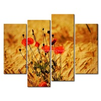 3 Piece Brown Wall Art Painting Poppies In The Wheat Field Print On Canvas The Picture Flower 4 5 Pictures