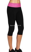 hot sale Women's mid Elastic waistband Tight Yoga cropped Pants feet trouser   1102