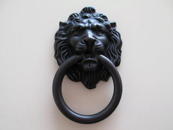 Lion Drawer Pull Knobs Handles Dresser Drop Pulls Rings / Antique Bronze Gold Lion Head Door Knocker Cabinet Knob Handle(China (Mainland))