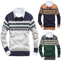 Winter Autumn Slim Long Sleeve Sweater Men V-Neck Rhombus Christmas Deer Printing Pullover Brands Casual Knitted Coat 30157