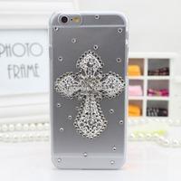 "3D Handmade Clear Bling Flower Cross Eiffel Crystal Rhinestone Diamond Skin Case Cover for iPhone 6 Plus 5.5"", Free Shipping"
