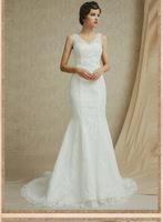 2015 A-line V-Neck Lace Up Floor-Length Sweep/Brush Trein Tank Sleeveless Lace Tulle&Radiant  Fashion wedding Dresses