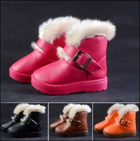 New 2015 leather slip waterproof children snow boots wool warm child winter shoes kids thicken boots for girls boys