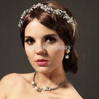 New Style handmade pearl frontlet rhinesonte bridal tiara wholesale wedding crown jewelry accessory