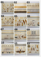 DHL&EMS Freeshipping 120pc/Lot 2014 New Design gold silver metalic temporary tattoo sticker for glitter stencil kit supply TSG01