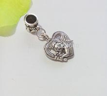 80pcs Antique Silver Plated Heart Cupid Charm Pendant European Bracelet Beads Jewelry Making DIY Handmade 32x16mm