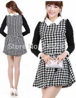 new design dress slim elegant plaid contrast color ladies long sleeves autumn winter one-piece basic dress peter pan collar XXXL