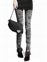 Free shipping Han edition Design sexy Women Design Vintage graffiti Leggings fashion Slim Fit -WZ085