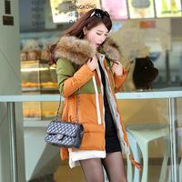 Tooling fashion medium-long 2014 luxury large fur collar plus size down female 966