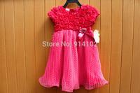 Summer Baby Girls Fashion Rose Flowers Dress Kids Short Dot Ruffled TU TU Dresses Whit bowknot Drop shipping