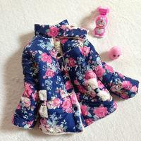 new children's winter coat fashion  girls long-sleeved flowers jacket  clothing    BB406CT-41