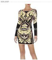 Hot selling Free shipping rayon nylon printing sheath long sleeve dress