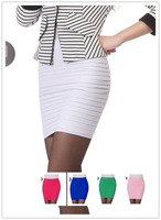 2015 NEW Fashion women's pleated skirts candy color women's high waist short skirt large size of the elastic line Mini