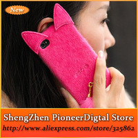 Hot Sale 2014 New Popular Cute Artificial Fur Plush Mink Cat Soft Silicon Cover Case Phone Cases For Apple iPhone 6