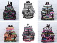 Fashion Female Vintage Floral  Canvas Tide Shoulder Bag Backpack Casual
