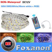 Foxanon Banrd 5050 RGBW LED Strip DC12V Flexible light 60Led/M 300LED RGB White/Warm Colorful Lamp 40key 5Pin Controller 5M/Roll