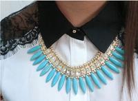 Fashion sparkling Turquoise gems drop big gem necklace long design clothes decoration necklace