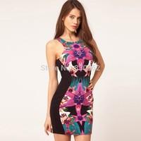 Free shipping rayon nylon printing sheath tank dress