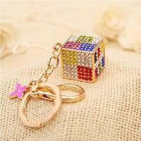 Christmas Gift Full Rhinestone Magic Cube Key chain chaveiro metal Keychain Alloy Keyring ,Real Gold Plated ,Handbag Charms