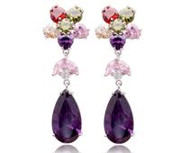Europe Style Zircon Earrings Top Multicolor Zirconia Dangle Earring Jewelry Christmas Gifts Accessories For Women