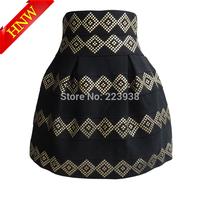 winter 2014 New Arrival womens skirts Fashion Brand Gold Rivet high waist Elastic Ball Gown Short denim Skirt High quality F1717