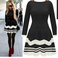 ZQ9508 New 2014 Autumn Women Round Neck Casual Sweater Dress