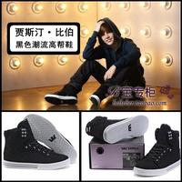 Justin bieber black luxury lacing high fashion Mens shoes Hip-hop shoes high-top shoes skateboarding shoes