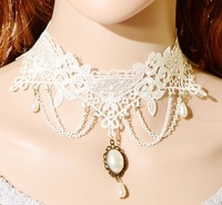 2014 new European and American retro fashion white lace necklace the bride necklace LORI aesthetic water droplets  A483