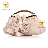 2014 NEW Arrival!!! Wholesale Price Popular Silk Elegant Dinner Evening Bags ,Flower Decoration Clutch Bags, Free Shipping