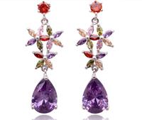 Luxury Excellent Cut Zircon Earrings Crystal Multicolor Real Zircon Drop Earrings Jewelry Christmas Gifts Accessories