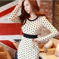 Free Shipping New 2014 Fashion Women Korean Autumn Elegant Temperament O-Neck Long Sleeve Floral Print Plus Size Dress 9959