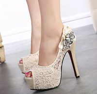 Princess high heels open toe shoes platform thin heels shallow mouth lace rhinestone sandals for women spring and autumn