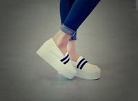 New fashion platform women shoes 2014 high quality alpargata pure color with black white stripe shoes