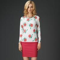 Winter Casual Rose Pattern Flower Retro Women Sweater Jumpers HY-40820