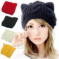 M65 Free Shipping Winter Beanie Devil Horns Cat Ear Crochet Braided Knit Women Ski Wool Cap Hat