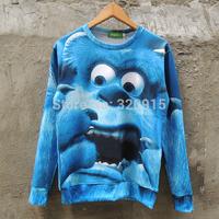 2014 New fashion Women Men Monsters Inc Mao blame Sullivan Print 3D Sweatshirts Hoodies Galaxy sweaters Tops Free shipping