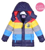 Free shipping retail 2014 autunm winter children's winter jacket  kids  fashion striped wadded jacket boy's warm parka