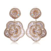 flower shape new style wedding jewelry earring 2014 latest luxury wedding party aaa top zirconium diamond jewelry wonderful gift