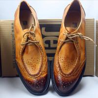 Dress Oxfords Shoes 2014 Spring Genuine Leather Shoe For Men Women Brogues Vintage Flats British Female Rubber Sole Shoes