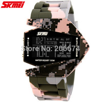 Fashion Skmei Airplane Shaped Unisex Sports Watch 5ATM Waterproof LED Colorful Light Women Digital Watches Student Wristwatches
