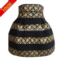 2014 New Arrival winter womens skirts Fashion Brand black Gold Leaves high waist Elastic Ball Gown Short denim Skirt plus size