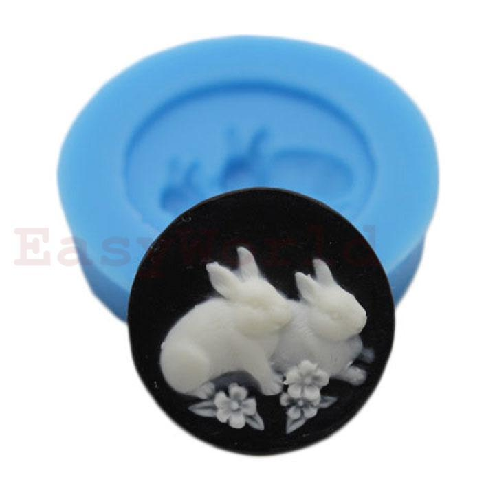 Round Rabbit Flexible Silicone Mold Silicon Mould For Polymer Clay Crafts Jewelry Cake Decorating Decoration Mold