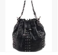 100% Genuine Leather Bag Female Retro Pack 2014 New Pure Sheepskin Leather Diagonal Package Skeleton Head Women Messenger Bag