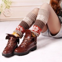 Hot sale 2014 winter multicolor jacquard knitted winter women legging warmers boot cuffs leg warmers gaiters freeshipping