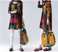 Free Shipping New 2014 Fashion Women Korean Autumn Elegant Temperament O-Neck Long Sleeve Floral Print Plus Size Dress 9060