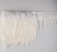 """Free Shipping Height 4-6"""" 10-15cm White Rooster Hackle Feather Fringe  tail Rooster feather Trimming"""