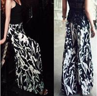 2014 European new brand women's wild fashion lycra ink black and white flowers thrown wide leg pants leisure elegant trousers