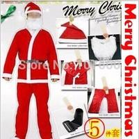 1set Men Santa Claus Costume Christmas Adult Clothes Backpack Santa father Suit X'mas Clothes,Hat,beard,belt,pants,Clothes