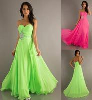 Formal dress tube top strapless evening dress slim waist Sweetheart Beading Floor Length Chiffon Evening Dresses party gown